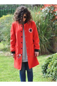 Red - Unlined - Crew neck - Jacket - Minimal Moda(110331256)