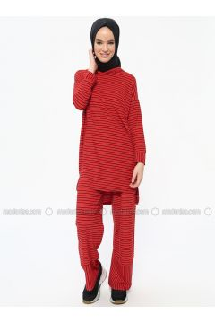 Maroon - Stripe - Unlined - Suit - Dadali(110313601)