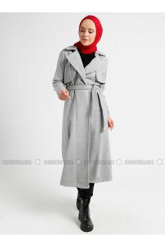 Gray - Unlined - Shawl Collar - Coat - CASHCARA(110339722)