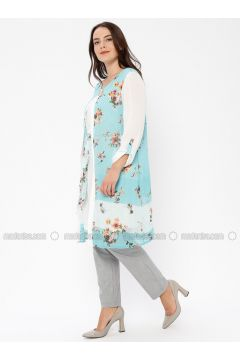 Green - Multi - Crew neck - Tunic - Le Mirage(110338980)