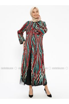 Maroon - Multi - Fully Lined - Crew neck - Abaya - AL HANNA(110317025)