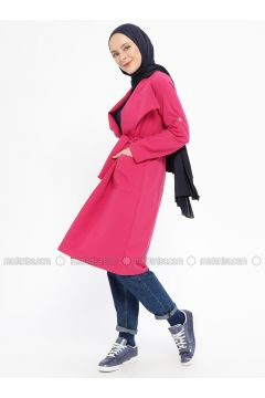 Pink - Fuchsia - Unlined - Shawl Collar - Viscose - Topcoat - XTREND(110329268)