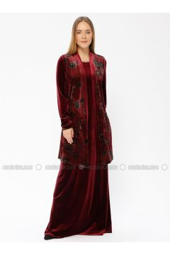 Maroon - Multi - Unlined - Suit - Güzey(110337579)