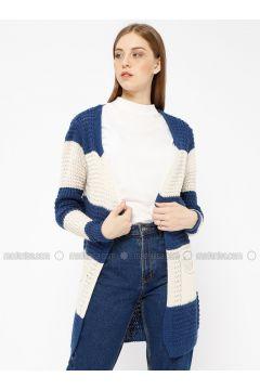 Navy Blue - Stripe - Acrylic -- Cardigan - Meliana(110331016)