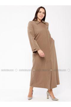 Minc - Fully Lined - Point Collar - Cotton - Plus Size Coat - Tekbir(110335673)