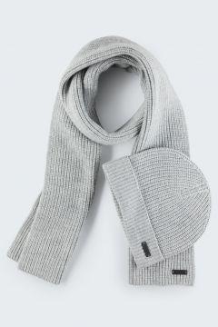 Kit composé d'une écharpe et d'un bonnet, gris clair(111088670)