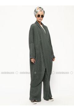 Khaki - V neck Collar - Unlined - Dresses - Miorespiro(110320612)