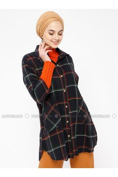 Navy Blue - Plaid - Point Collar - Tunic - SELLY(110330483)