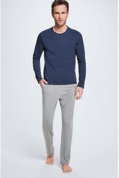 Pyjama, Longsleeve und Hose, navy/hellgrau(111093473)