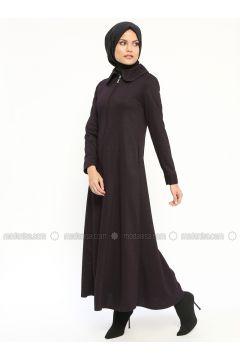 Purple - Unlined - Round Collar - Abaya - Nihan(110313251)