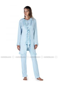 Blue - Crew neck - Cotton - Viscose - Pyjama - Artış Collection(110332894)