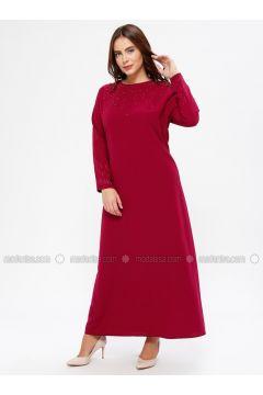 Cherry - Unlined - Crew neck - Muslim Plus Size Evening Dress - Havva Ana(110329983)