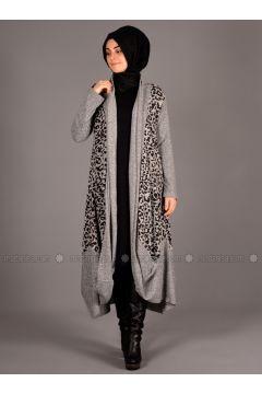 Gray - Leopard - Unlined - Wool Blend - Acrylic - Abaya - Henna Elısa(110320065)