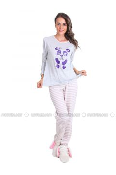 Gray - Crew neck - Stripe - Pyjama - Meliana(110314581)