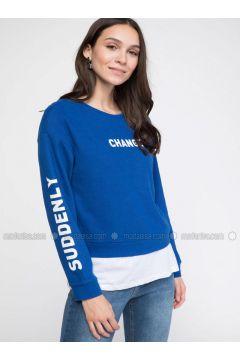 Blue - Sweat-shirt - DeFacto(110325712)