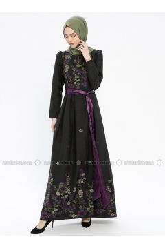Purple - Multi - Fully Lined - Crew neck - Muslim Evening Dress - MissGlamour(110320674)