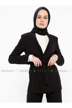 Black - Unlined - Shawl Collar - Jacket - İroni(110339009)