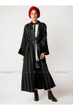 Black - Unlined - V neck Collar - Cotton - Abaya - Meryem Acar(110327078)