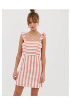 Glamorous - Gestreiftes Minikleid mit Schnürung hinten - Orange(92368458)