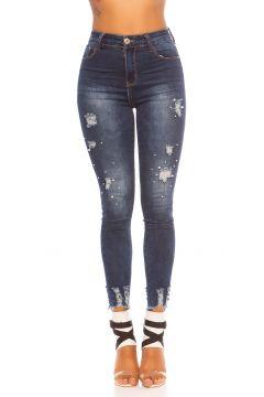 High Waist Skinny Jeans im Used Look mit Deko Perlen(111127836)