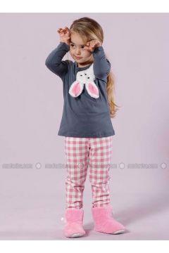 Pink - Crew neck - Multi - Cotton - Kids Pijamas - Siyah inci(110331132)
