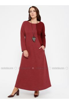 Maroon - Unlined - Crew neck - Plus Size Dress - CARİNA(110320123)