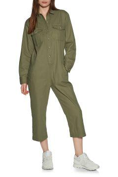 Brixton Melbourne Crop Overall Damen Jumpsuit - Washed Olive(111102067)
