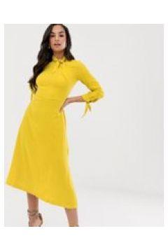 Closet - A-Linien-Kleid mit Schnürung am Ausschnitt - Gelb(91218216)