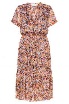 Dhwill Primo Dress Kleid Knielang Bunt/gemustert DENIM HUNTER(117082509)