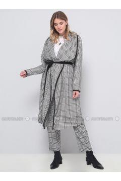 Black - White - Plaid - Plus Size Pants - Alia(110336673)