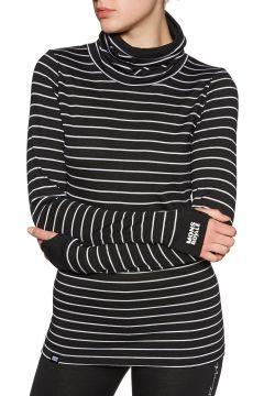 Top Seconde Peau Femme Mons Royale Cornice Rollover Ls - Thin Stripe(111332204)