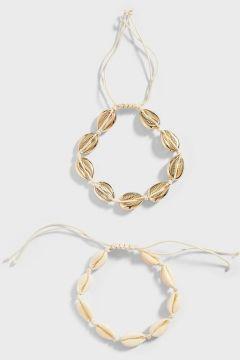 Stradivarius Lot de 2 bracelets de cheville en coquillages FEMME Jaune 103(116577221)