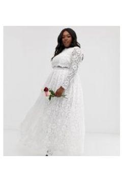 ASOS EDITION Curve - Langes Spitzen-Hochzeitskleid mit langen Ärmeln und kurzem Oberteil - Weiß(95031297)