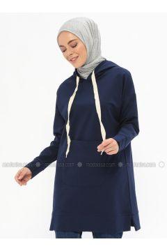 Cotton - Navy Blue - Sweat-shirt - İLMEK TRİKO(110321758)