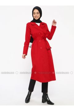 Red - Unlined - Shawl Collar - Cotton - Trench Coat - Tavin(110330895)