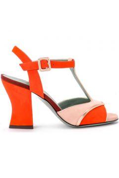 Sandales Paola D\'arcano Sandale à talon modèle Amalia en cuir de daim rouge et corail(101538313)