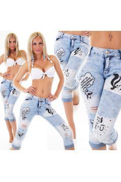 Capri Röhren Destroyed Jeans mit Aufnäher und Deko Nieten(111127865)