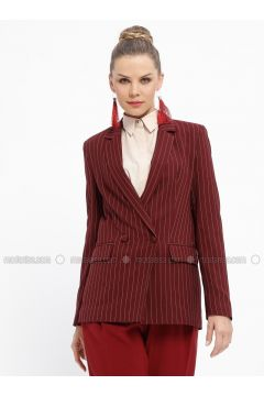 Maroon - Stripe - Fully Lined - Shawl Collar - Jacket - Fashion Light(110335030)