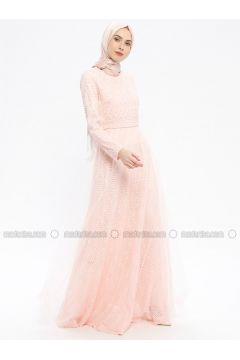 Powder - Fully Lined - Crew neck - Muslim Evening Dress - Robir(110320663)