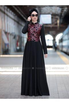 Maroon - Crew neck - Fully Lined - Dresses - Rana Zenn(110331708)