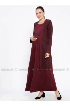 Plum - Crew neck - Unlined - Viscose - Maternity Dress - Havva Ana(110313988)