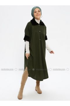 Khaki - Point Collar - Unlined - Poncho - Beha Tesettür(110336723)