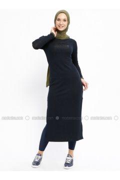 Navy Blue - Crew neck - Unlined - Dresses - Bilcee(110319772)