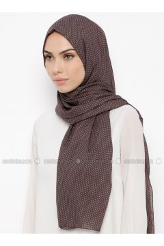 Brown - Printed - Shawl - Qubbe(110317381)