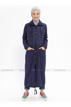 Navy Blue - Unlined - Cotton - Trench Coat - Beha Tesettür(110328291)