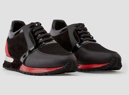 883 Police Luka Red Black Mens Sneakers, Designer Trainers(85139126)