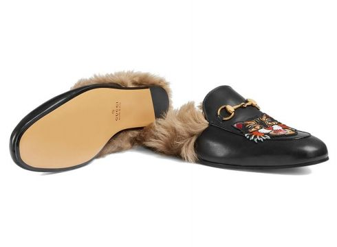Gucci Princetown slippers with Angry Cat appliqué - Noir(76485637)