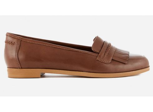 Clarks Women\'s Andora Crush Leather Loafers - Tan - UK 3 - Tan(51820218)