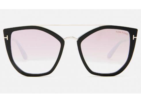 Tom Ford Women\'s Dahlia Sunglasses - Shiny Black/Gradient or Mirror Violet(89038861)