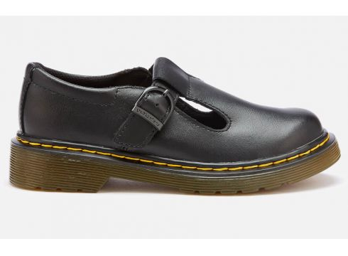 Dr. Martens Kids\' Polley J T Lamper Leather T Bar Flats - Black - UK 10 Kids - Schwarz(51893422)